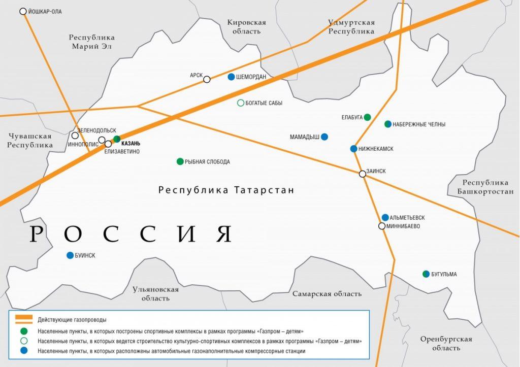 Схема магистральных газопроводов в Республике Татарстан